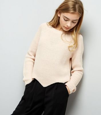 Teens Pink Scallop Hem Jumper