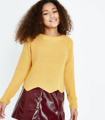 Teens Mustard Scallop Hem Jumper