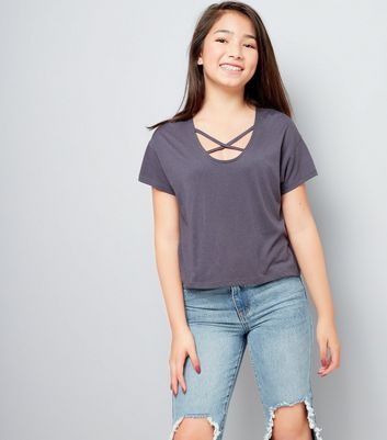 Dark Grey Cross Strap Front T-Shirt