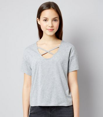 Teens Grey Cross Strap Front T-Shirt