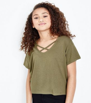 Teens Khaki Cross Strap Front T-Shirt