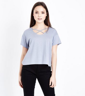 Teens Pale Blue Cross Strap Front T-Shirt