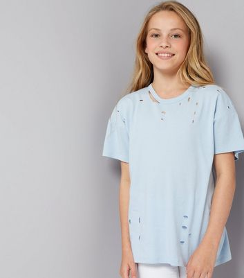 Teens Pale Blue Ripped Oversized T-Shirt