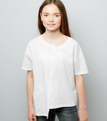 Teens White Asymmetric Spliced T-Shirt