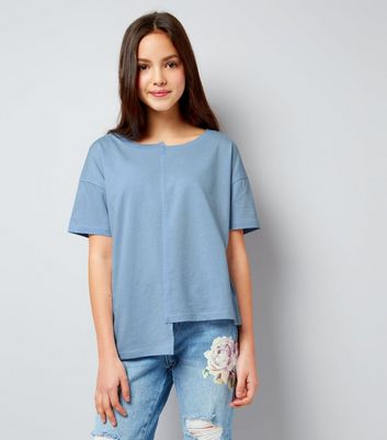 Teens Pale Blue Asymmetric Spliced T-Shirt