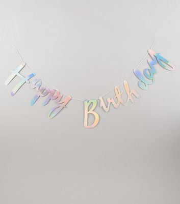 Silver Iridescent Happy Birthday Bunting