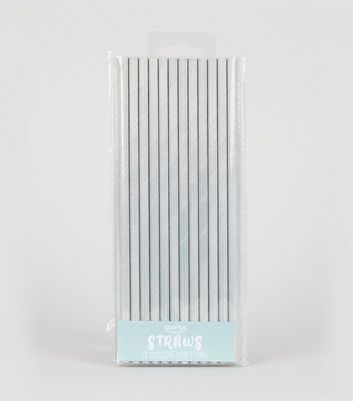 25 Pack Silver Iridescent Straws