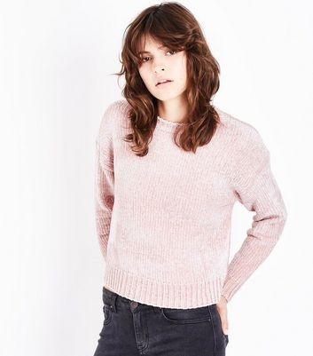 Shell Pink Chenille Cropped Jumper