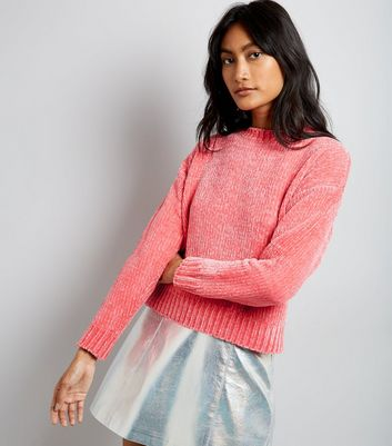 Pink Chenille Cropped Jumper