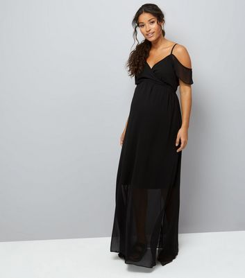 Maternity Black Cold Shoulder Maxi Dress