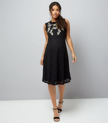 Maternity Black Embroidered Lace Skater Dress