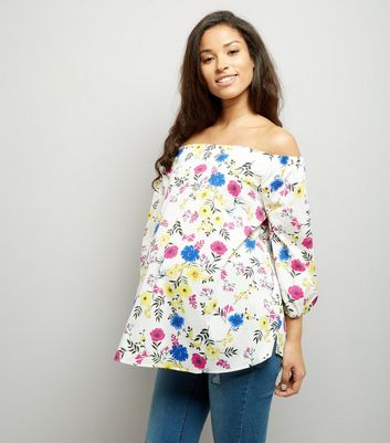 Maternity White Floral Print Bardot Neck Top