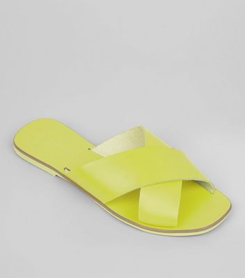 Neon Green Leather Cross Strap Mules