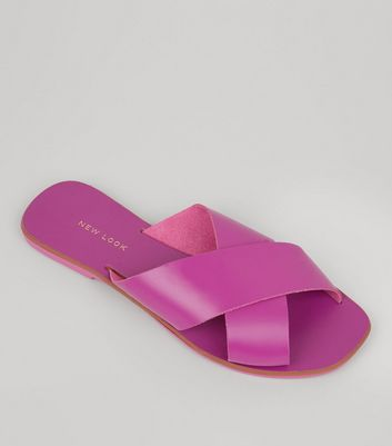 Pink Leather Cross Strap Mules