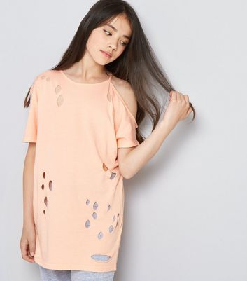 Teens Orange Ripped Single Cold Shoulder Oversized T-Shirt