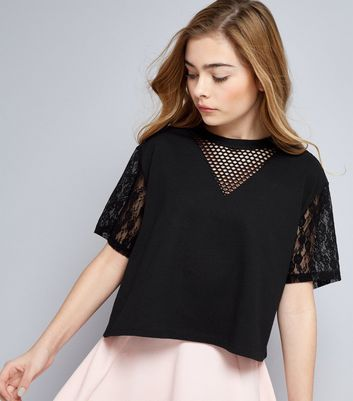 Teens Black Mesh and Lace Sleeve Crop Top