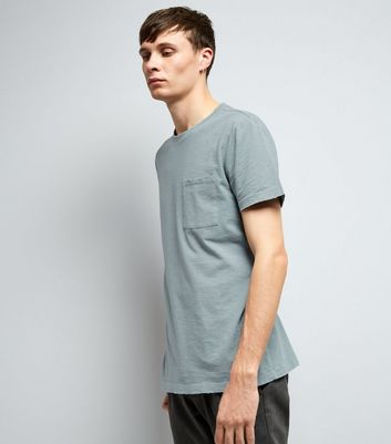Pale Blue Distresed Pocket Front T-Shirt