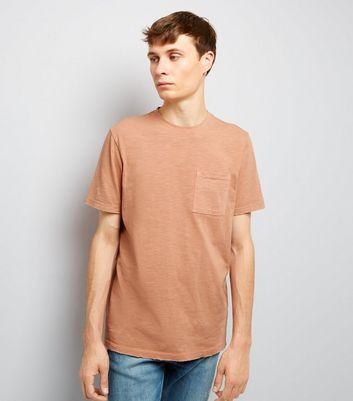 Pink Distresed Pocket Front T-Shirt