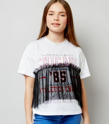 Teens White Chicago Print Gathered Mesh Overlay T-Shirt