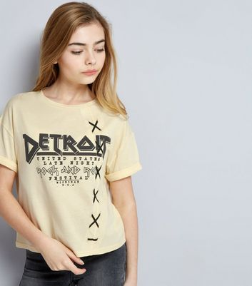 Teens Yellow Detroit Lattice Side T-Shirt