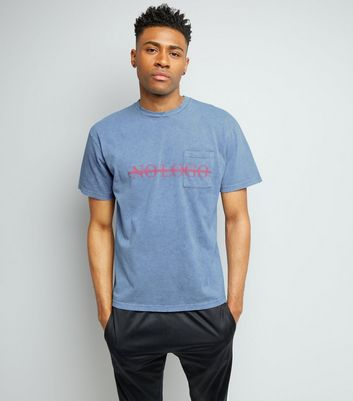 Blue No Logo Print Distressed T-Shirt