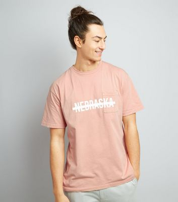 Pink Nebraska Print Distressed T-Shirt