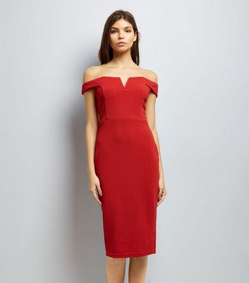 AX Paris Red Bardot Neck Midi Dress
