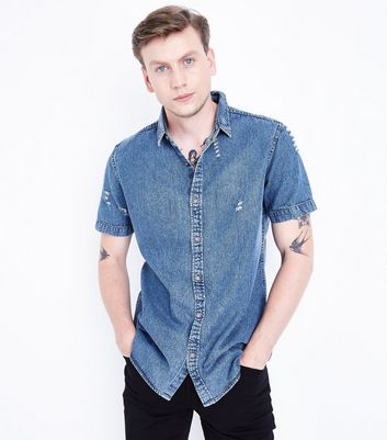 Blue Ripped Short Sleeve Denim Shirt