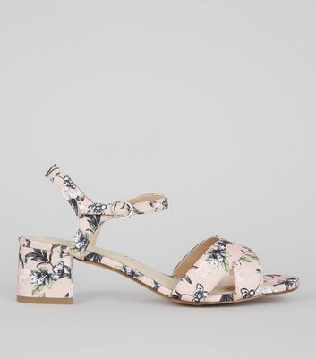 Wide Fit Pink Comfort Floral Print Block Heeled Sandals