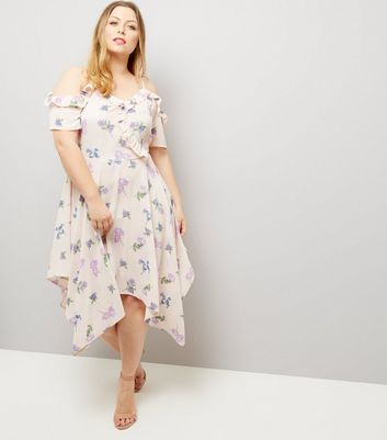 Curves Cream Floral Frill Trim Hanky Hem Dress