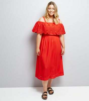 Curves Red Cut Out Cold Shoulder Midi Dress