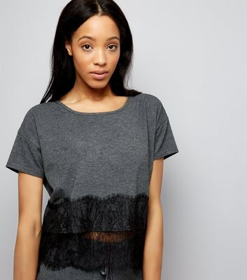 Grey Lace Hem Pyjama T-Shirt