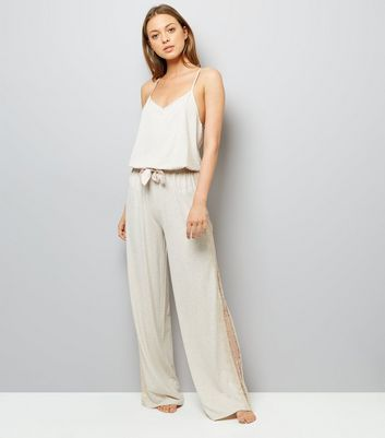 Cream Lace Trim Jersey Pyjama Jumpsuit