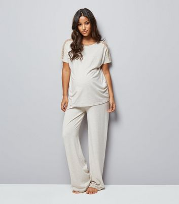 Maternity Cream Lace Trim Jersey Pyjama T-Shirt