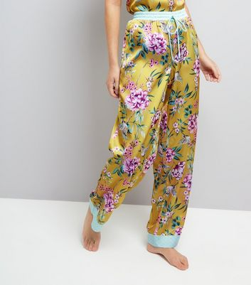 Yellow Floral Print Satin Pyjama Bottoms
