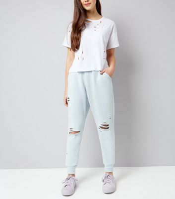 Teens Pale Blue Ripped High Waist Joggers