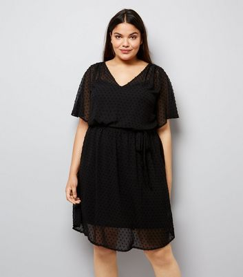 Curves Black Spot Chiffon V Neck Dress