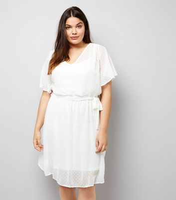 Curves Cream Spot Chiffon V Neck Dress