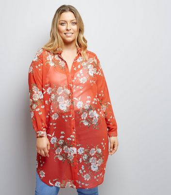 Curves Red Floral Print Longline Shirt