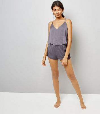 Grey Lace Trim Cami And Shorts Pyjama Set