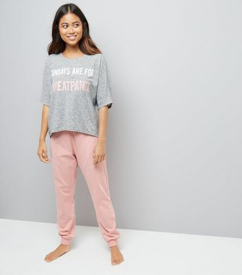Petite Pink Sunday Slogan Pyjama Set
