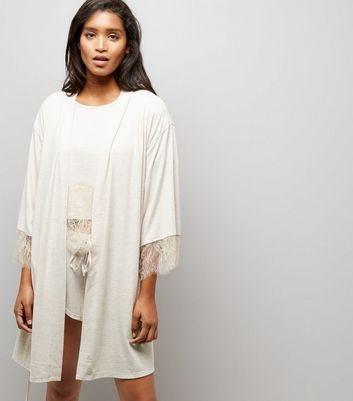 Cream Lace Trim Robe