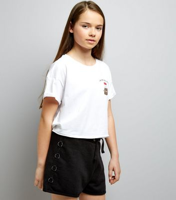 Teens Black Ring Side Jersey Shorts
