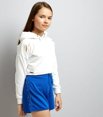Teens Blue Ring Side Jersey Shorts