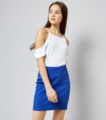 Teens Blue Ribbed Tube Skirt