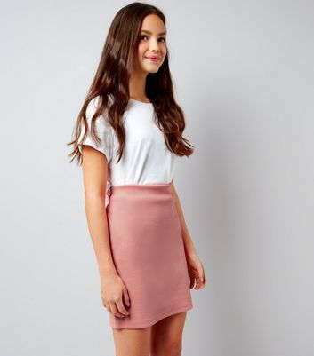 Teens Pink Ribbed Tube Skirt
