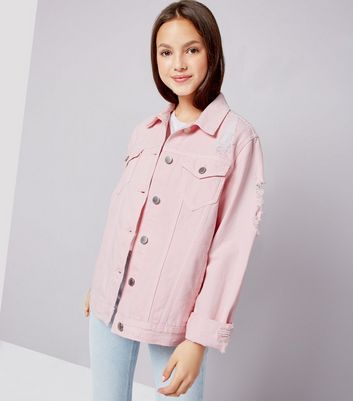Teens Shell Pink Denim Jacket