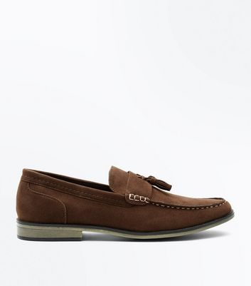 Brown Contrast Stitch Tassel Loafers
