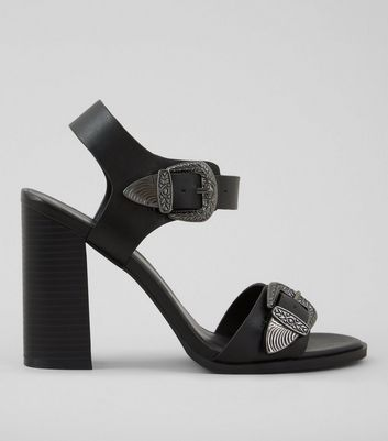 Black Western Buckle Strap Heeled Sandals