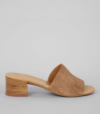 Light Brown Suede Heeled Mules
